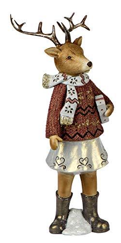 dekojohnson decoratief hert kerstdecoratie hertenfiguur-meisje decoratief rendier nostalgische decoratie sculptuur in rood bruin 30 cm groot