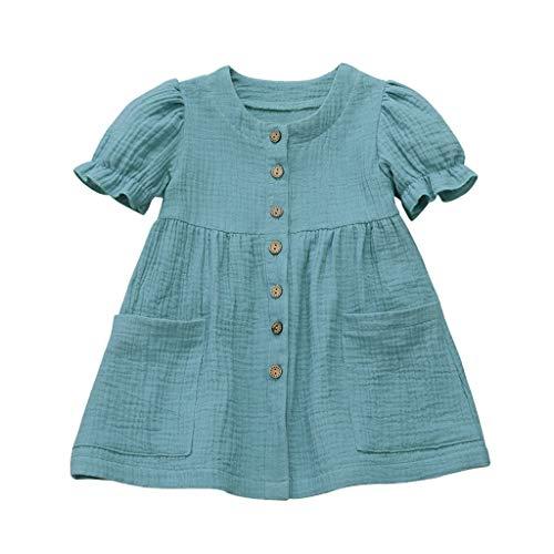 Janly Liquidación Venta Vestido Niñas para 0-10 Años, Bebé Niña Sólido Lino Vestido de Princesa Ropa Casual, azul, 3-4 Años