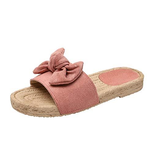 Sandalias Mujer Verano 2019, VECDY Zapatillas De Playa Planas con Nudo En Forma De Mariposa con Nudo En Verano De Roma Sandalias con Punta Abierta Suave Casual Calzados(Rosa,EU-39)