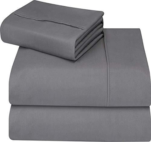 Utopia Bedding - Set Lenzuola Letto - Spazzolata Microfibra - (Grigio, Singolo)