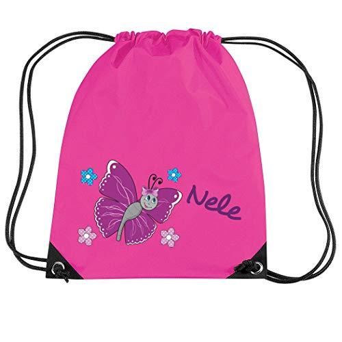 Mein Zwergenland Turnbeutel Sportsack mit Name Schmetterling, 10 L, Fuchsia