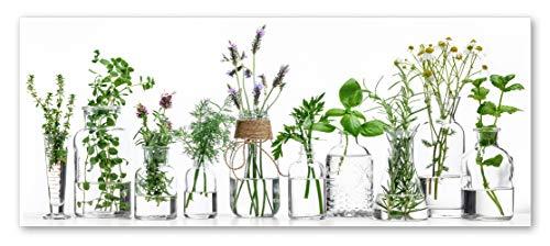 STYLER Küchenbild Herbs 30 x 80 x 0,4 cm I Glasbild mit Kräutern I Panaroma Wandbild Kräutergarten Rosmarin Basilikum Lavendel I Wanddeko Home Kunstdruck I Deko Küche Vintage