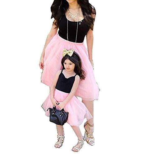 CHRONSTYLE Mutter und Tochter Kleider Set, Baby Kleidung Partnerlook Mutter Tochter Familien Kleidung Mama und Kinder Mädchen Kleid Sommerkleid Tops Damen Shirtkleider (Rosa- Mutter, M)