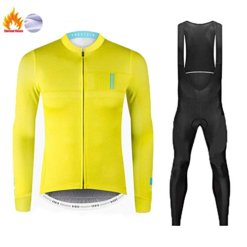 ZEH Winter Thermal Fleece Radtrikot Set, Herren MTB Bike Bekleidung mit 9D Gel Bib Pants Warm (Farbe: C, Größe: S) FACAI (Color : D, Size : XXXL)