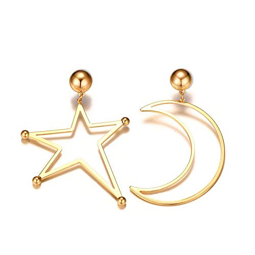 Fashion Oorknopjes voor meisjes, Asymmetric Crescent Moon Star Dangle Oorbellen Hoop Drop Earrings Gift for Women