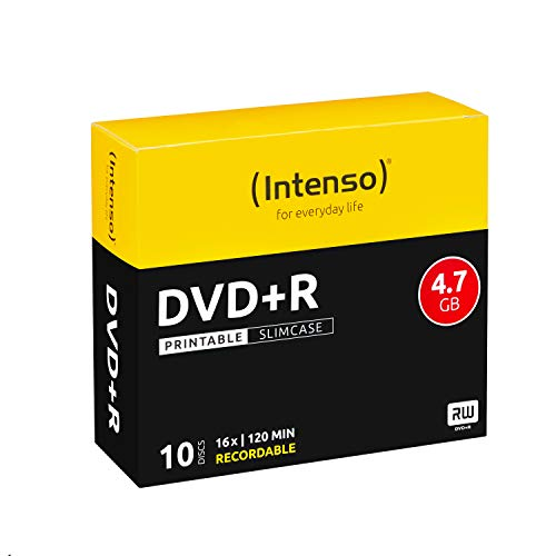 Intenso DVD+R Rohlinge, Printable, 4,7GB, 16x Speed, 10er Slim Case