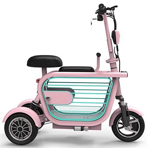 Mini Folding Elektro-Dreirad, Erwachsener Elektrisches Fahrrad Portable USB-Telefon-Ladestoßdämpfender Adjustable Speed 3-Rad-Fahrrad-Starke Energie Freizeit Roller, 80 Km Unisex,Rosa