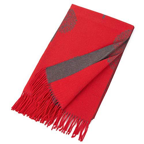 World of Shawls Winter-Decke, wendbar, dick, lang, Maulbeerbaummotiv, modisch Gr. X-Large, Rot / Silber