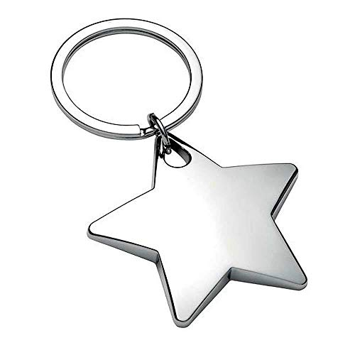 Personalised Chunky Star Shaped Keyring / Key Chain. ENGRAVED FREE