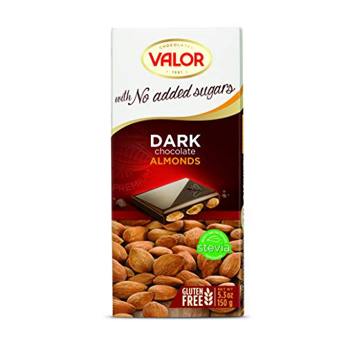 Chocolates Valor - Chocolate puro con almendras Sin Azúcar- 150 g
