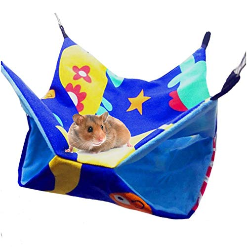 Pet Hammocks - Hanging Bed Nest - Hamsters Chinchillas Ferrets Hammock - Double Layer Canvas Hammock - Small Pet Cotton Nest Cage Accessories
