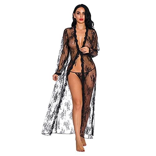 Lenfeshing Camisón de Encaje Largo Sexy para Mujer con Bragas Pijama Babydoll Deep V Teddy Lencería de Luna de Miel Babydoll de Lencería de San Valentín