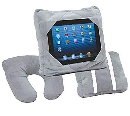 Kids Tablet Holder Car Mount Travel Neck Cushion 3 in 1 Smart Pillow Bean Bag (Grey)