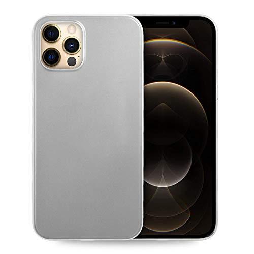 doupi UltraSlim Custodia per iPhone 12 PRO/iPhone 12 (6,1 Pollici), Satinato fine Piuma Facile Mat Semi Trasparente Cover, Bianco