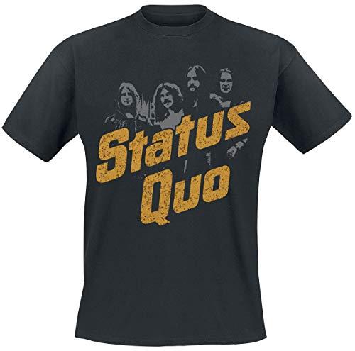 Status Quo Quo Vintage Uomo T-Shirt Nero XXL 100% Cotone Regular