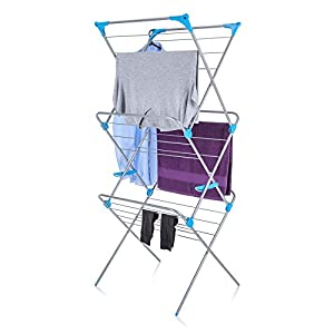 Minky 3-Tier Trio Concertina Indoor Drying Rack, 49-Feet Drying Space, Silver