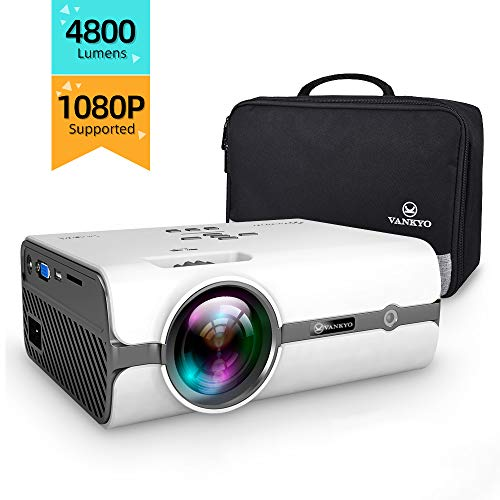 VANKYO L410 Portable Mini Projector, 4800 Lumens Video Projector Support 1080P and 176'' Display w/ 50,000 Hrs Lamp Life, Compatible w/ Smartphone, TV Stick, PS4, HDMI, VGA, TF, AV and USB, XBOX