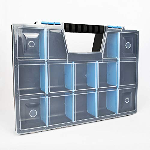DIY Small Parts Storage Organiser Carry Case Compartment Tool Box for Screws Drill Bits Craft Sewing (Large)