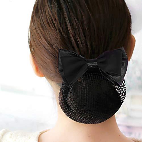 Beaupretty 2pcs cheveux snood net barrette pince maille élastique papillon bun bow coiffure pour dame femmes danse bureau (noir)
