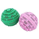 Bolas de lavandería ecológicas, hasta 2000 lavados, todos los detergentes naturales alternativos, juego de 2 bolas de lavado