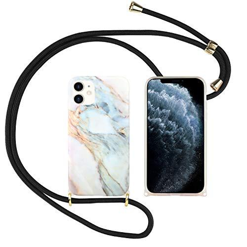 Funda con Cuerda para iPhone 7 / iPhone 8, Carcasa Mármol Brillante TPU Suave Silicona Case con Correa Colgante Ajustable Collar Correa de Cuello Cadena Cordón Anti-Choque, Mármol 6