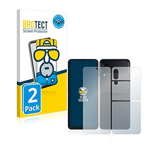 BROTECT Full-Cover Schutzfolie Matt kompatibel mit Samsung Galaxy Z Flip 3 5G (Vorder + Rückseite) (2 Stück) - Full-Screen Bildschirmschutz-Folie