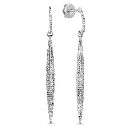 0.55 Carat (ctw) 14K White Gold Round Diamond Ladies Icicle Shaped Long Dangling Drop Earrings 1/2 CT