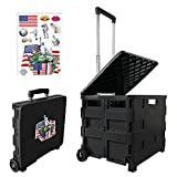 Rolling Collapsible Storage Utility cart,Folding Portable Rolling Wheel Trolley,Smooth Rotating Wheels for Travel Shopping Mobile Baggage Office use,with Unique American Style Stickers