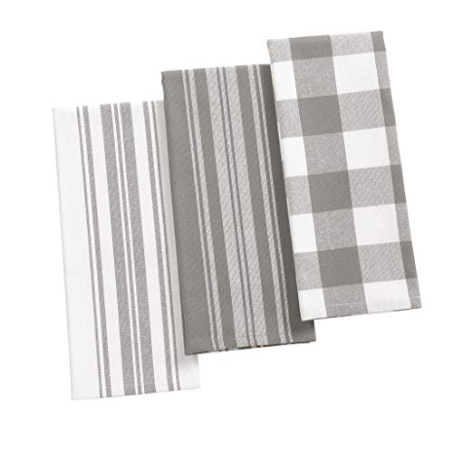 """Elrene Home Fashions Farmhouse Living Stripe and Check Kitchen Towels, Set of 3, 17"""" x 28"""", Gray/White 3"""