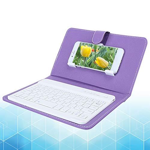 Jopwkuin Teclado numérico Completo, Teclado inalámbrico de Seguimiento óptico avanzado, para Bluetooth 3.0 con Funda de Piel sintética(Purple)