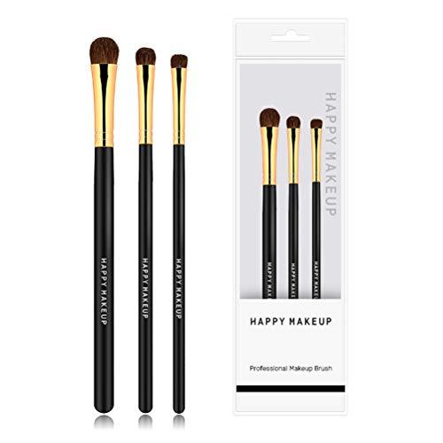NINI MA Horse Hair Makeup Eyeshadow Brush Set Eyeshadow Eyeliner Blending Crease Portable 3 piece Kit (Golden Black)