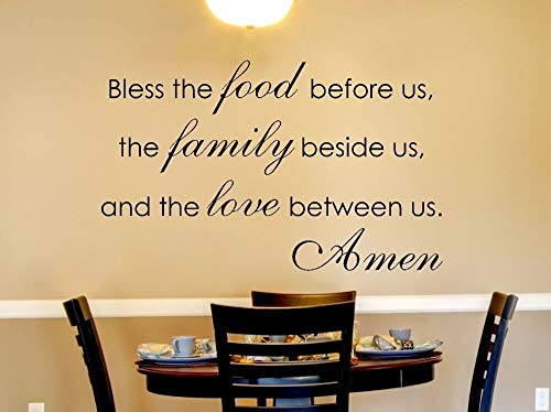 Zegen de voedsel muurstickers voor ons eetkamer waterdichte huisdecoratie familie sticker keuken vinyl muur sticker woorden 68x42cm