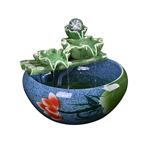 Hkw-shop Indoor Fontein Keramische Decoratie Office Desktop Fontein Woonkamer Spray Kleine Aquarium Desktop Fontein met Pomp