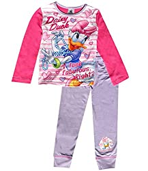 """Girls Disney Daisy Duck """"Fabulous"""" pyjamas. With long sleeved arms and long leg pants. They are made from: Pants 100% Cotton, Top: Back & Sleeves, 100% Cotton, Front 100% Polyester. Available in: 4-5 Years (110cm), 5-6 Years (116cm), 7-8 Years (128cm..."""