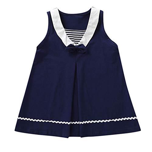 Livoral Madchen Kleider festlich Kleinkind-Kind-Baby-Fliegen-gestreifter zufälliger Prinzessin Dress Beach Skirt(Marine,130)