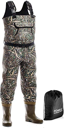 Foxelli Neoprene Chest Waders – Camo Fishing Waders for Men with Boots - Use for Duck Hunting, Fly Fishing, Emergency Flooding – 100% Waterproof, Carrying Bag Included