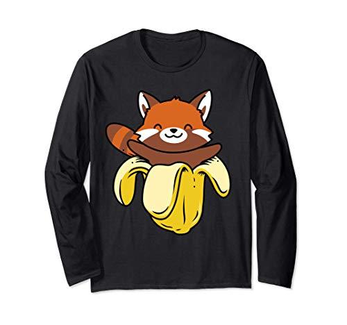 カワイイ 赤いパンダ シャツ バナナ 日本のアニメ パンダの贈り物 長袖Tシャツ