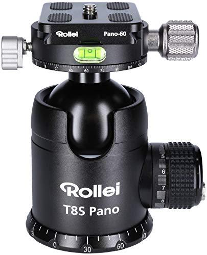 Rollei T8S Pano - professioneller 360 Grad Kamera Stativ Kugelkopf mit Friktion, 35KG Tragkraft, zus. Panoramaachse oberhalb der Kugel, 2 Wasserwaagen, inkl Acra Swiss komp. Schnellwechselplatte