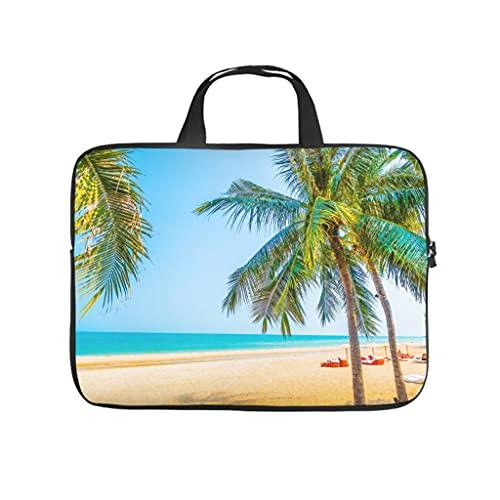 Facbalaign Sonnenschein - Bolsa para ordenador portátil, diseño de palmera y mar, para hombre y mujer, impermeable, de alta calidad, con asa, Blanco, 10 pulgadas,