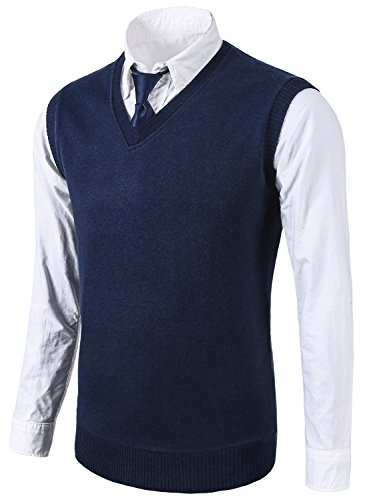 MIEDEON Mens Casual Slim Fit Knit Vest Sweater Navy