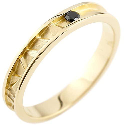 [アトラス]Atrus リング メンズ 18金 イエローゴールドk18 ブラックダイヤモンド ピンキーリング 4月誕生石 ストレート 指輪 26号