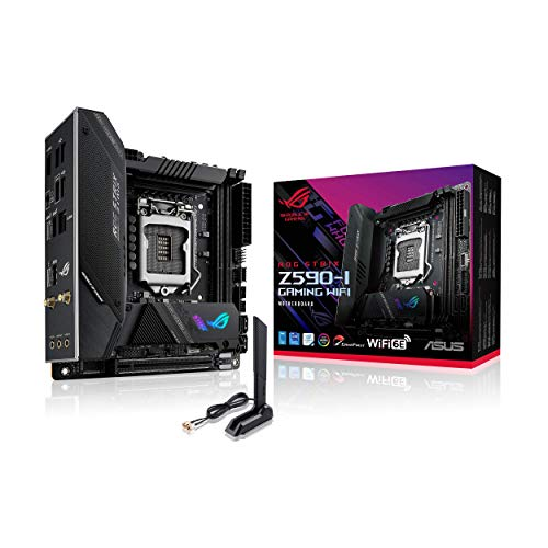 ROG Strix Z590-I Gaming WiFi 6E LGA 1200 (Intel 11th/10th Gen) Mini-ITX Gaming Motherboard (PCIe 4.0, 8+2 Power Stages,Thunderbolt 4 Onboard,2.5 Gb LAN, USB 3.2 Gen 2 Front Panel Type-C,2X M.2 Slots)