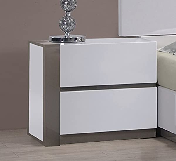 MILAN Valencia Gloss White Grey Left 2 Drawer Nightstand