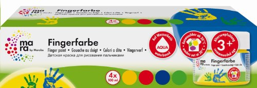 Mara by Marabu 042100087 - Fingerfarbe, 4 x 100 ml