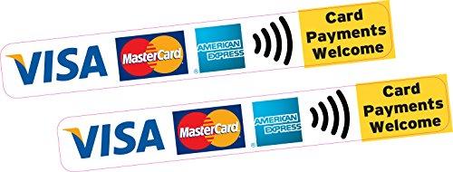 2x Kaart Betalingen Welkom Creditcard Sticker Visa MasterCard AMEX Contactloos Gedrukt Vinyl Shop Taxi
