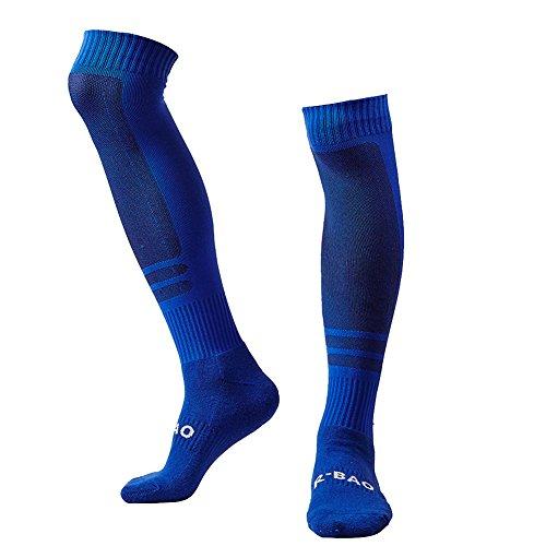 LANSHI Men's Soccer Socks Compression Long Sport High Sock Size M US(6-12) Blue
