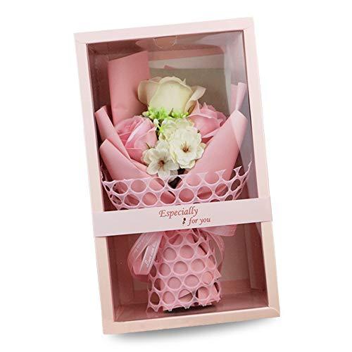 SIMUER Flor de Jabón Caja de Regalo Rose Flores Artificiales Decoración para Bodas Regalos de cumpleaños Regalos de San Valentín