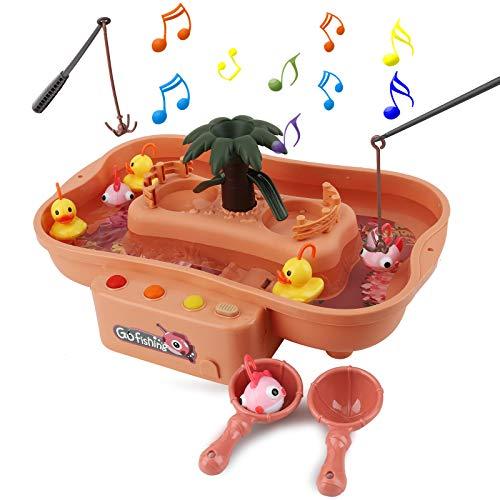 FORMIZON Angeln Spielzeug, Angeln Spielzeug Badespielzeug Badewannenspielzeug Wasserspiel mit Elektrischer Schwebendes Spielzeug für Kleinkinder Kindern Spielzeug, Lernspiel Geschenk (Rosa)