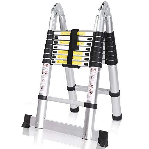 COOCHEER Échelle Télescopique Pliante 5M, 2 en 1 Escabeau Pliant Ladder (2,5M + 2,5M), Certifié EN131, Charge max 150 kg