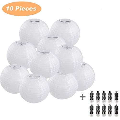 FullBerg 10er Papierlaterne 30cm weiß Lampions + 10er Warmweiße Mini LED-Ballons Lichter, rund Lampenschirm Hochtzeit Party Dekoration Papierlampen 12